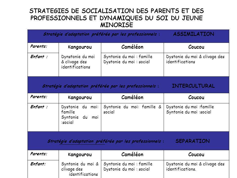 STRATEGIES DE SOCIALISATION DES PARENTS ET DES PROFESSIONNELS ET DYNAMIQUES DU SOI DU JEUNE MINORISE