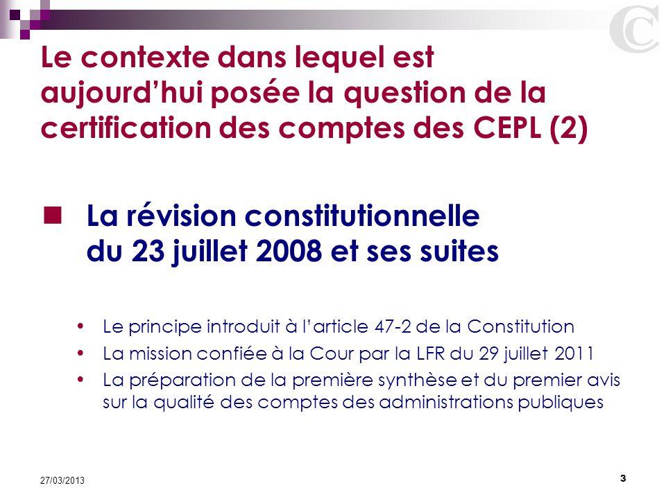 La révision constitutionnelle du 23 juillet 2008 et ses suites