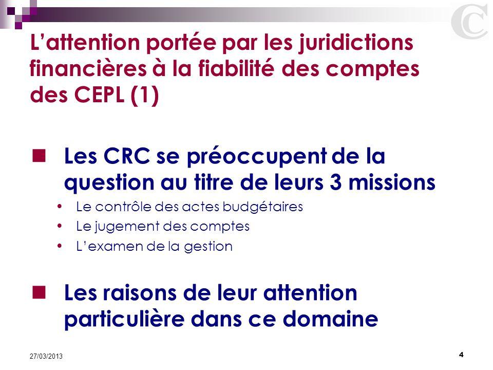 Les CRC se préoccupent de la question au titre de leurs 3 missions