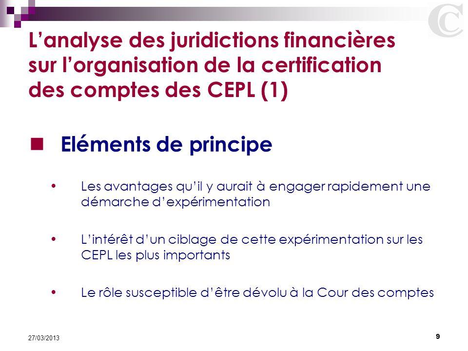 L'analyse des juridictions financières sur l'organisation de la certification des comptes des CEPL (1)