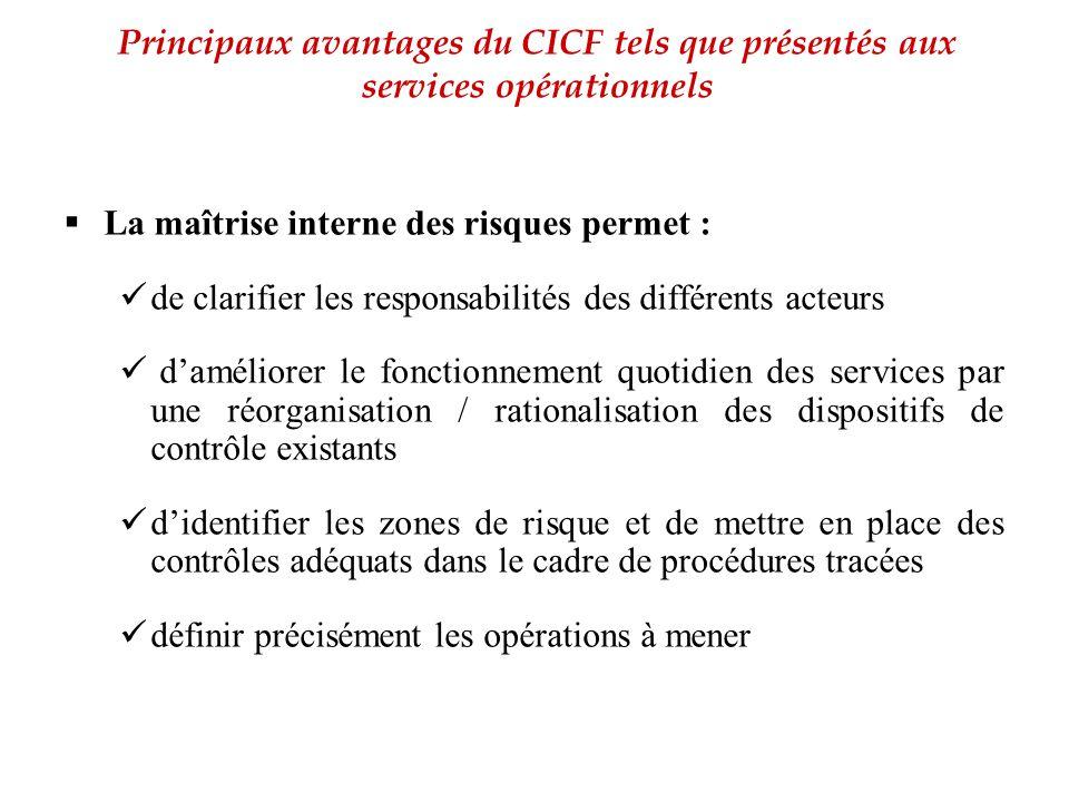 Principaux avantages du CICF tels que présentés aux services opérationnels
