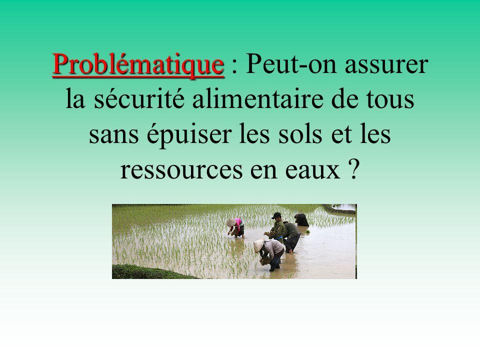 Problématique : Peut-on assurer la sécurité alimentaire de tous sans épuiser les sols et les ressources en eaux