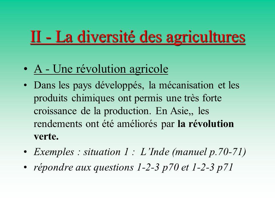 II - La diversité des agricultures