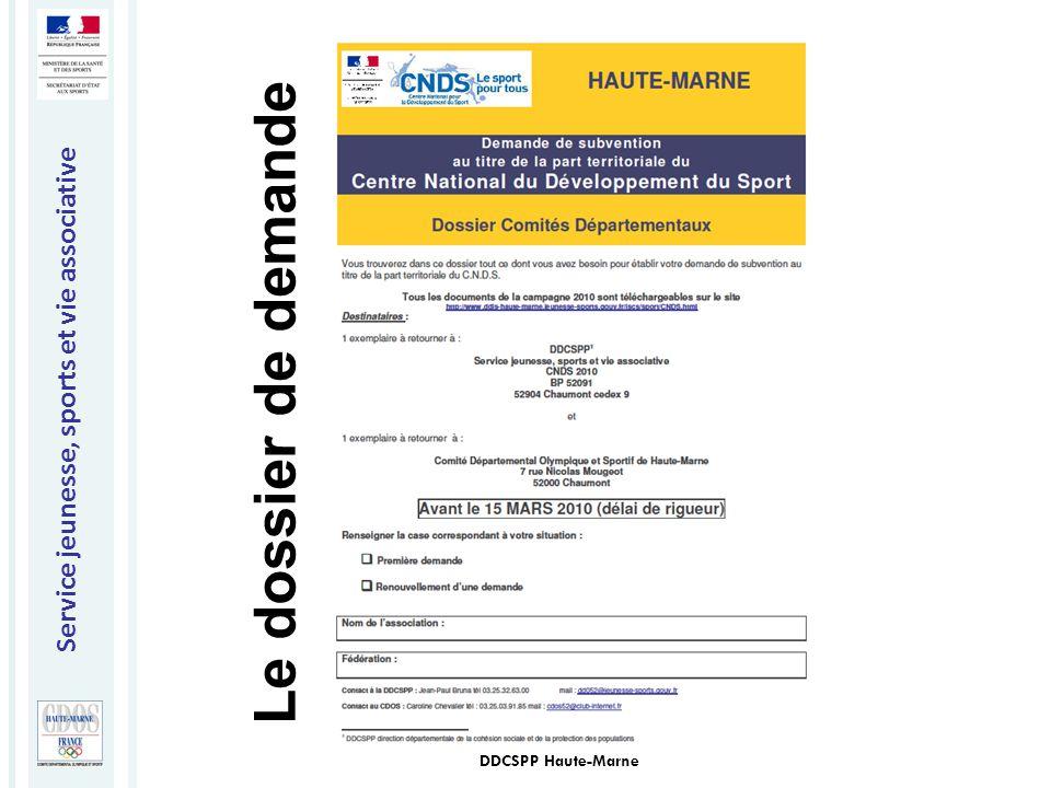 Le dossier de demande DDCSPP Haute-Marne