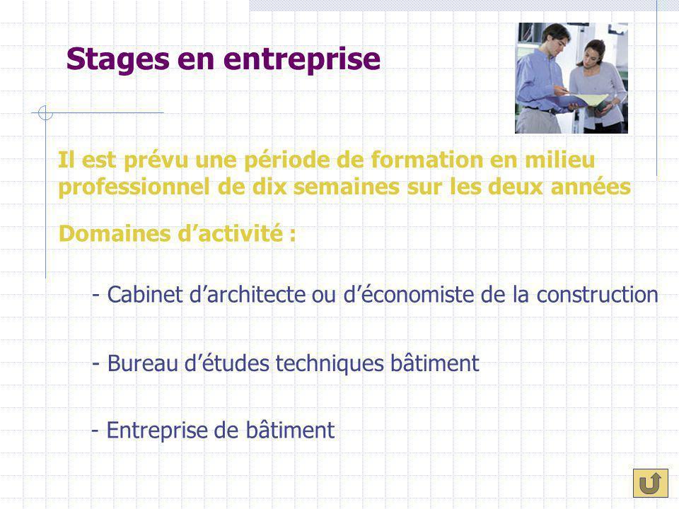 Stages en entreprise Il est prévu une période de formation en milieu professionnel de dix semaines sur les deux années.