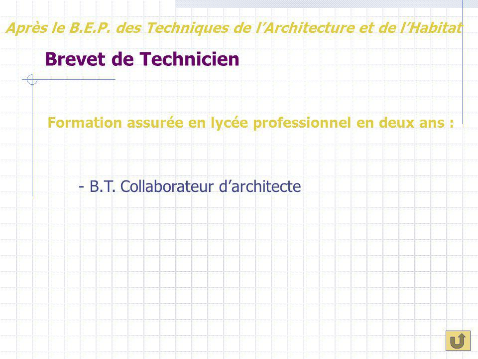Brevet de Technicien - B.T. Collaborateur d'architecte