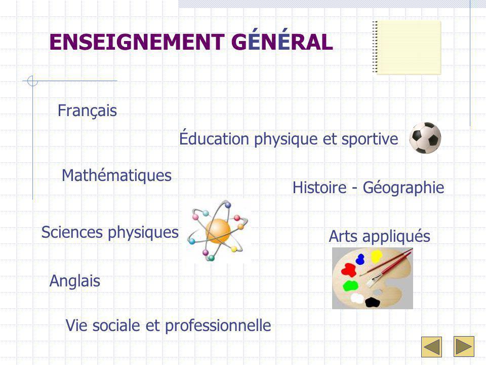 ENSEIGNEMENT GÉNÉRAL Français Éducation physique et sportive