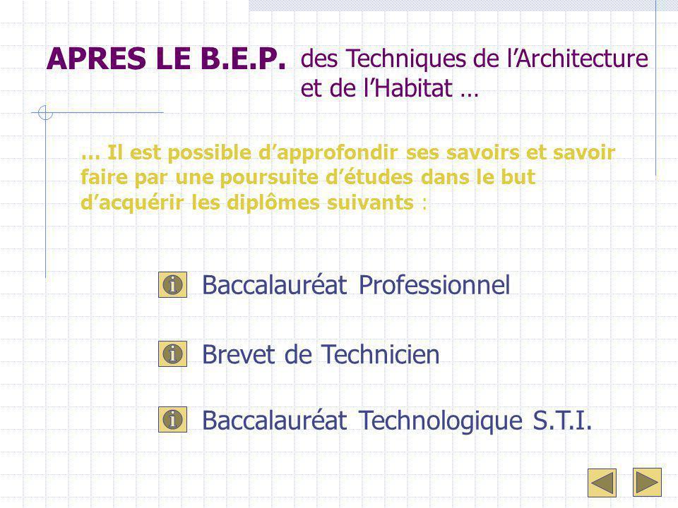 APRES LE B.E.P. Baccalauréat Professionnel Brevet de Technicien