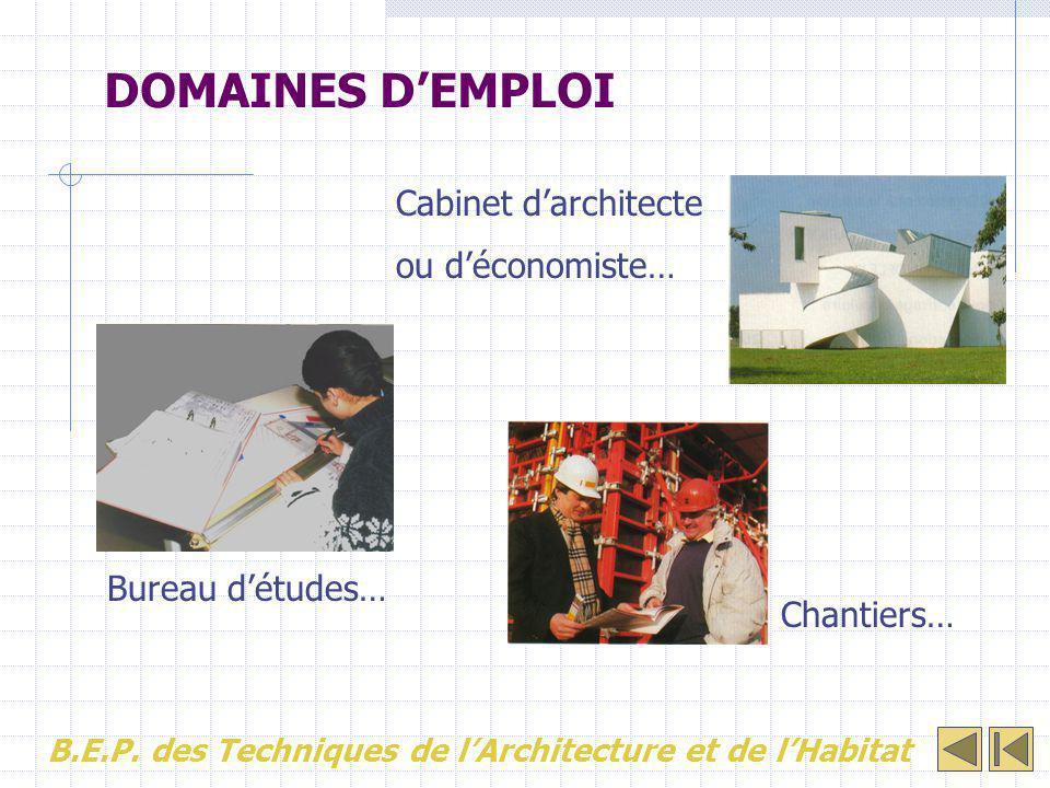 DOMAINES D'EMPLOI Cabinet d'architecte ou d'économiste…