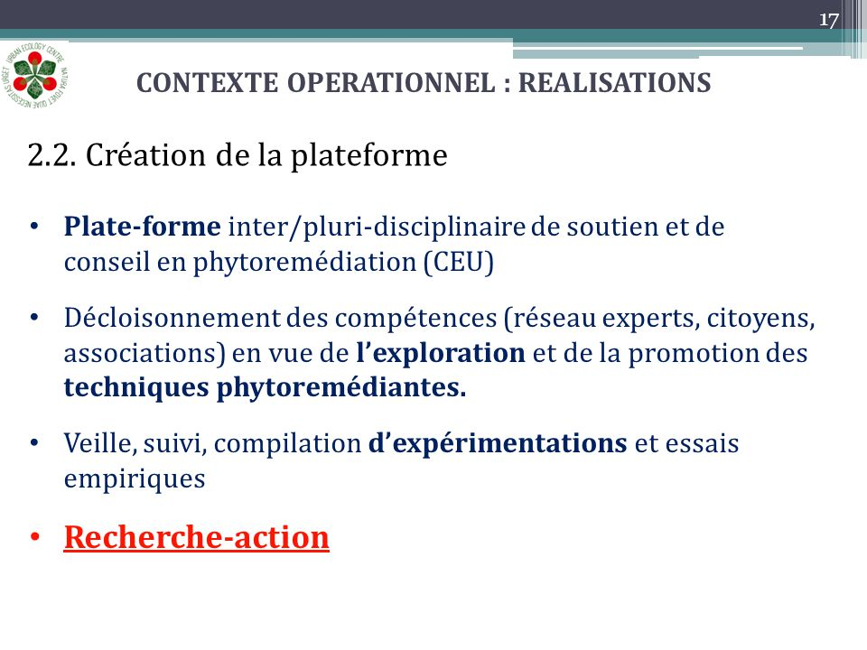 CONTEXTE OPERATIONNEL : REALISATIONS