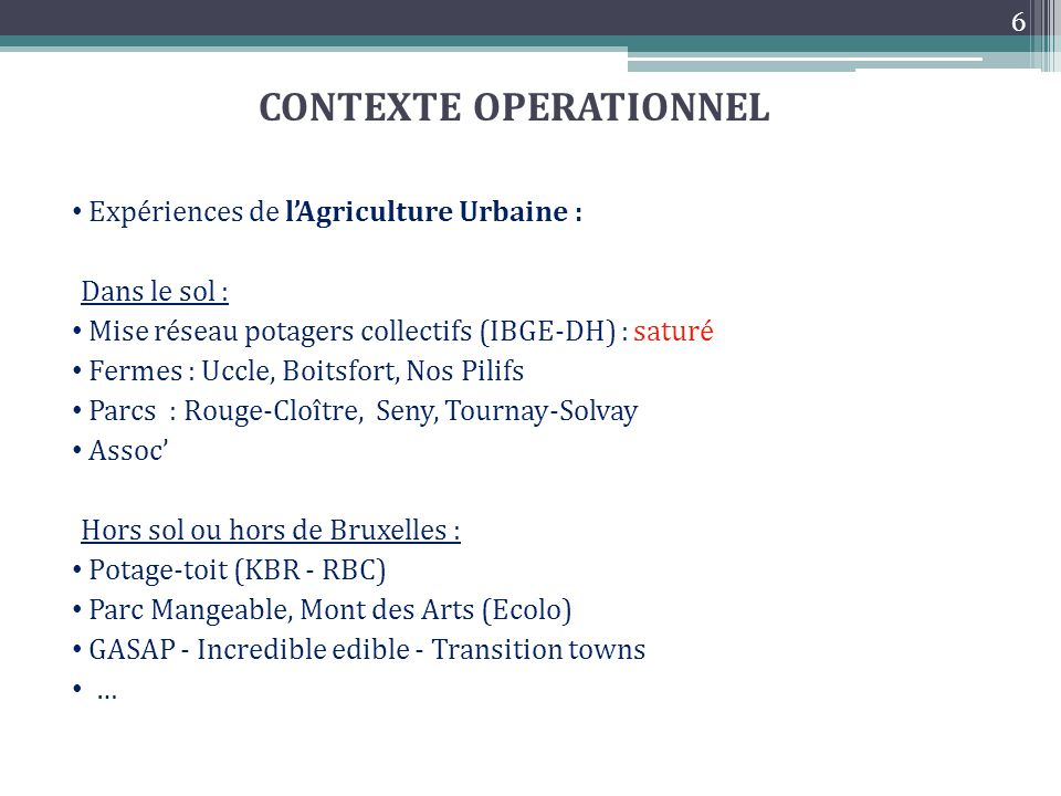 CONTEXTE OPERATIONNEL