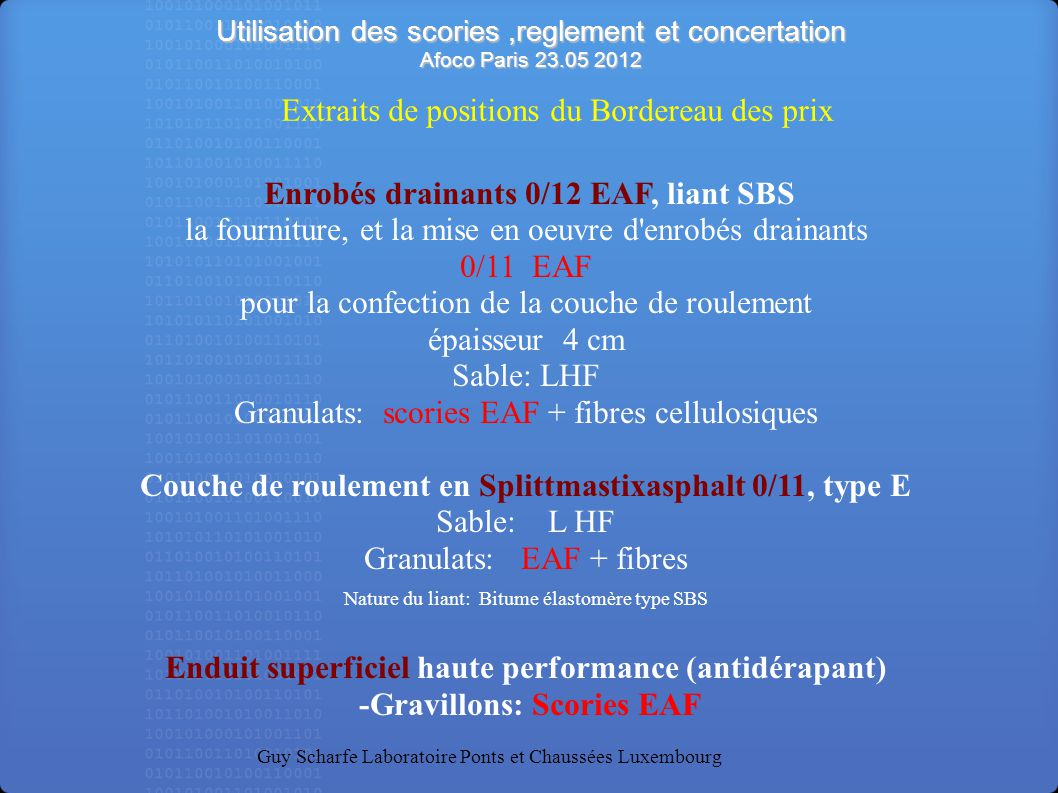 Enrobés drainants 0/12 EAF, liant SBS