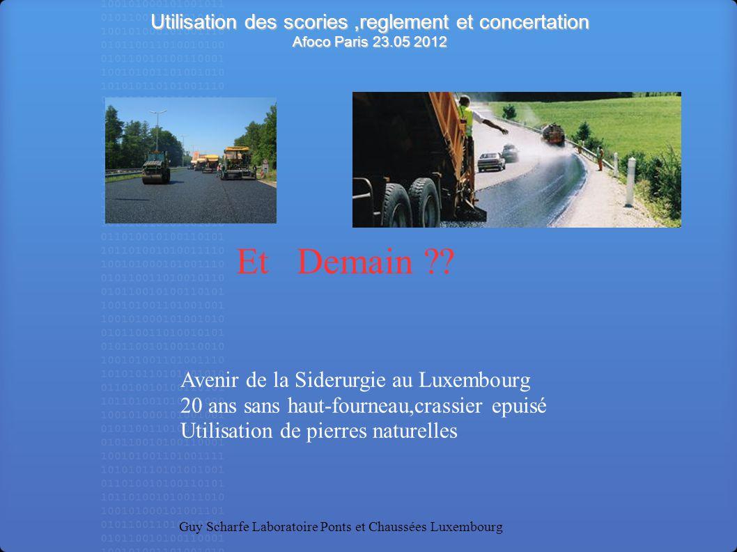 Utilisation des scories ,reglement et concertation Afoco Paris 23