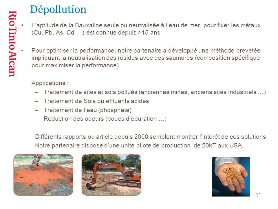 Dépollution L'aptitude de la Bauxaline seule ou neutralisée à l'eau de mer, pour fixer les métaux (Cu, Pb, As, Cd …) est connue depuis >15 ans.