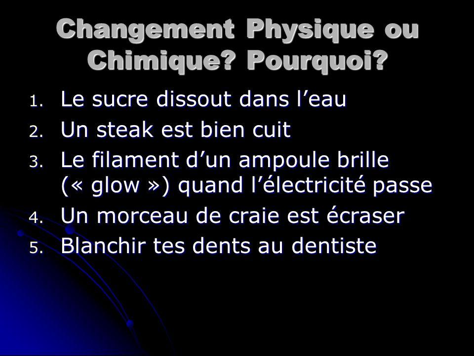 Changement Physique ou Chimique Pourquoi