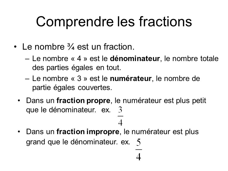 Comprendre les fractions