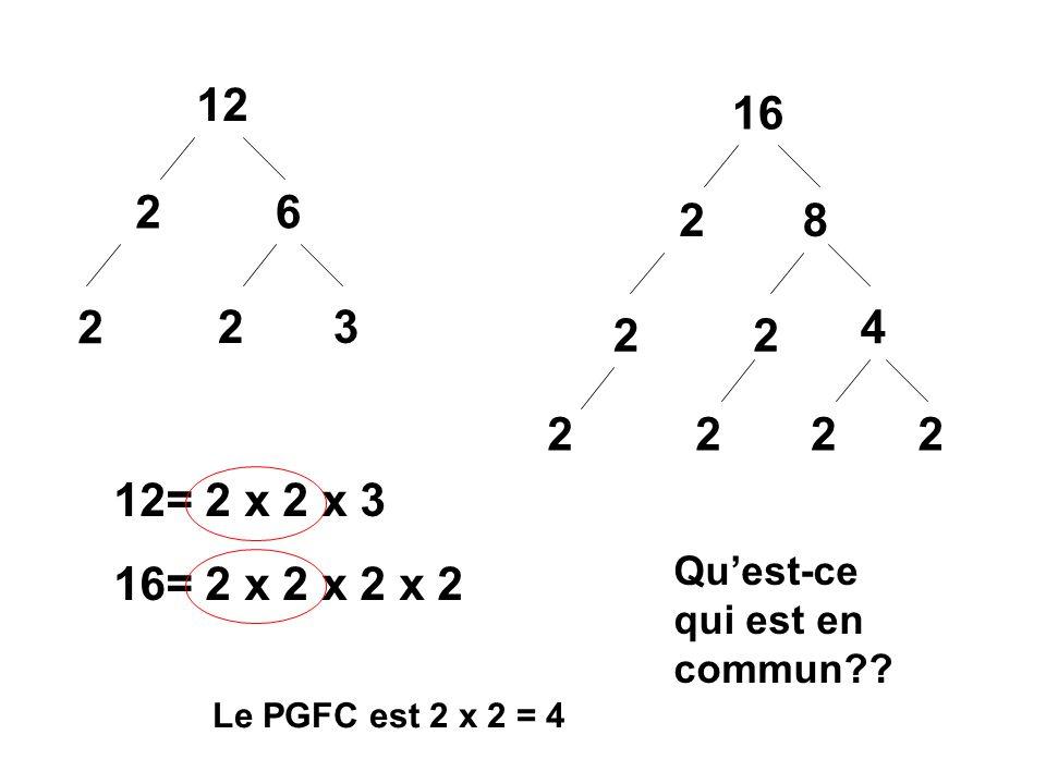 12 16. 2. 6. 2. 8. 2. 2. 3. 4. 2. 2. 2. 2. 2. 2. 12= 2 x 2 x 3. 16= 2 x 2 x 2 x 2. Qu'est-ce qui est en commun