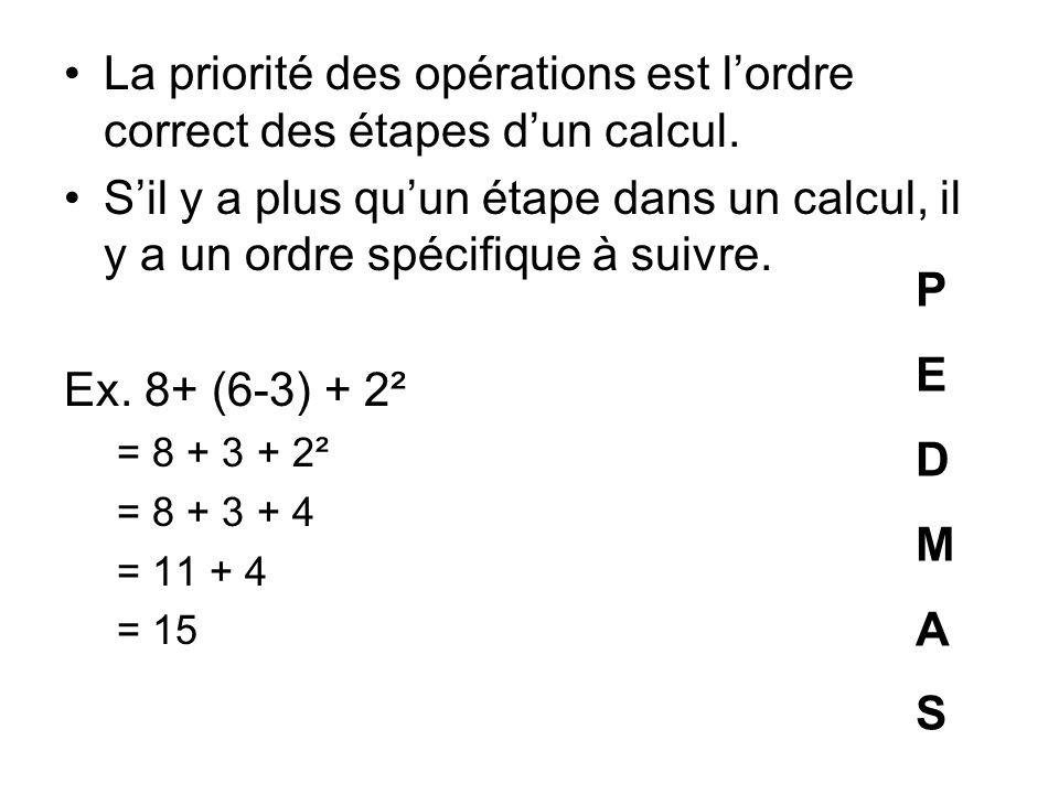 La priorité des opérations est l'ordre correct des étapes d'un calcul.
