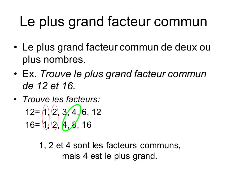 Le plus grand facteur commun