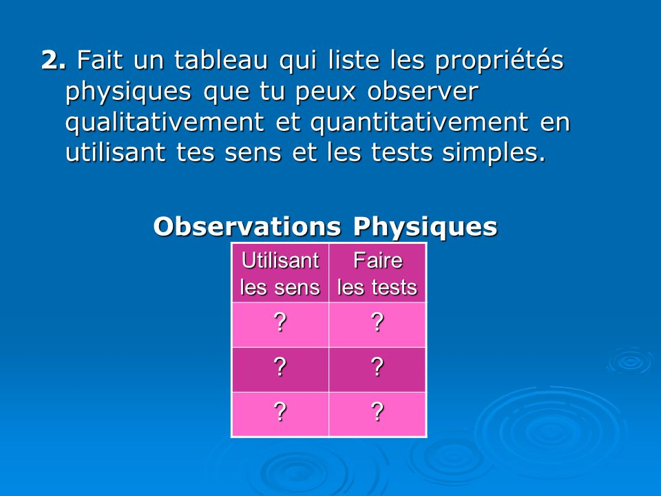 Observations Physiques