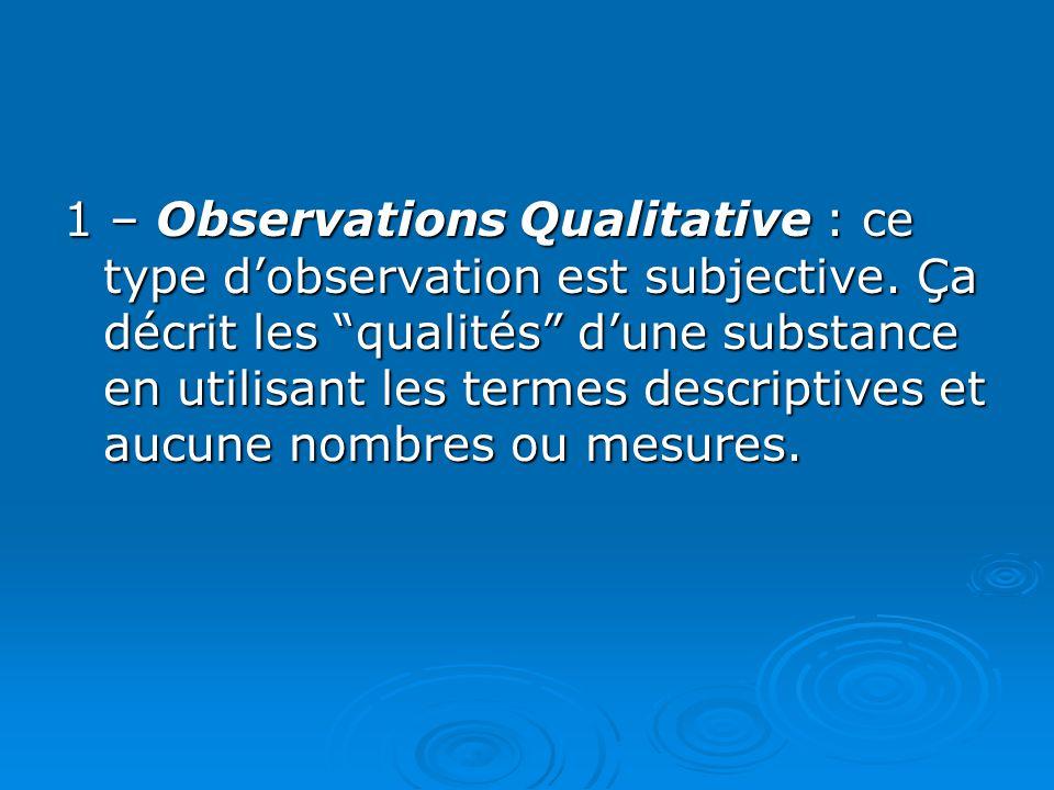 1 – Observations Qualitative : ce type d'observation est subjective