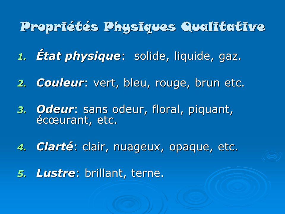 Propriétés Physiques Qualitative