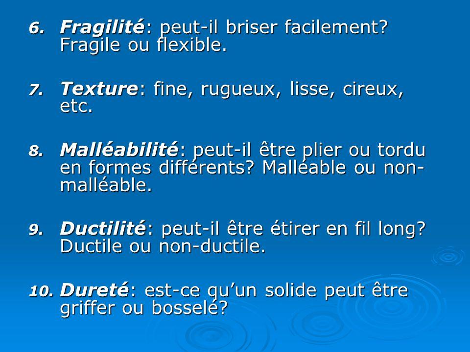 Texture: fine, rugueux, lisse, cireux, etc.