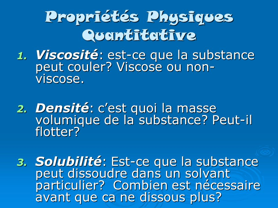 Propriétés Physiques Quantitative