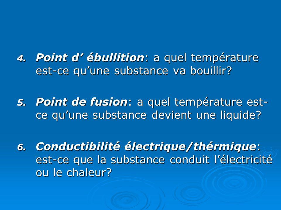 Point d' ébullition: a quel température est-ce qu'une substance va bouillir