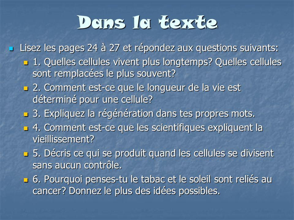 Dans la texte Lisez les pages 24 à 27 et répondez aux questions suivants: