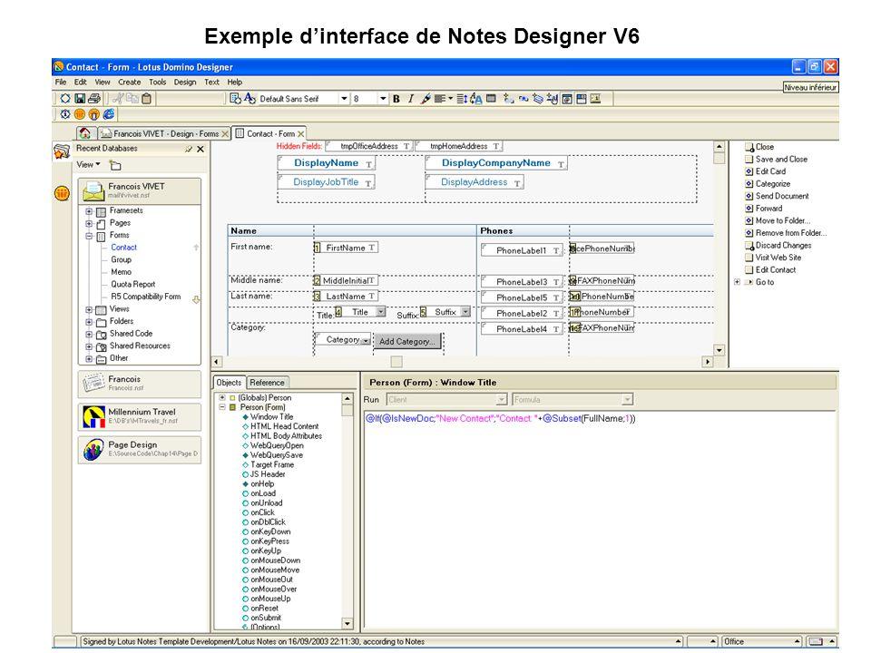 Exemple d'interface de Notes Designer V6