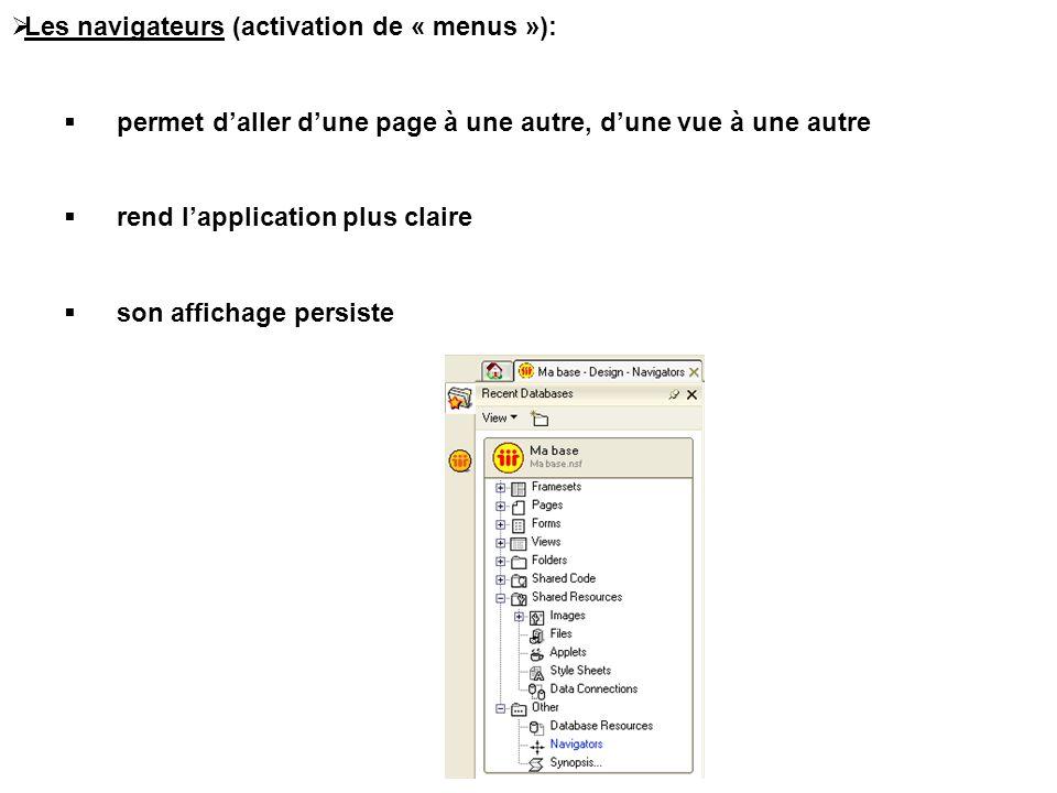 Les navigateurs (activation de « menus »):
