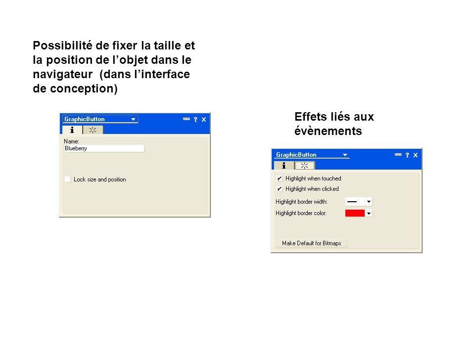 Possibilité de fixer la taille et la position de l'objet dans le navigateur (dans l'interface de conception)