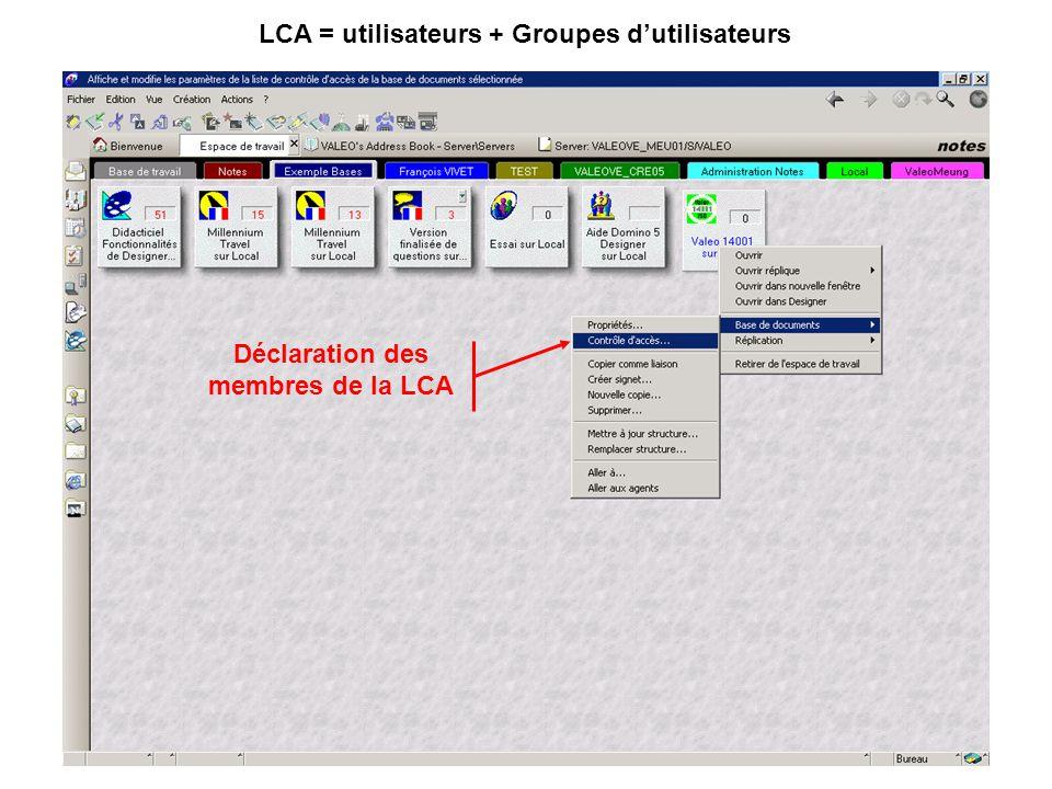 LCA = utilisateurs + Groupes d'utilisateurs