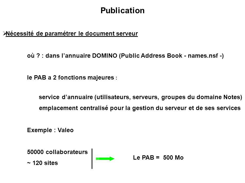 Publication Nécessité de paramétrer le document serveur