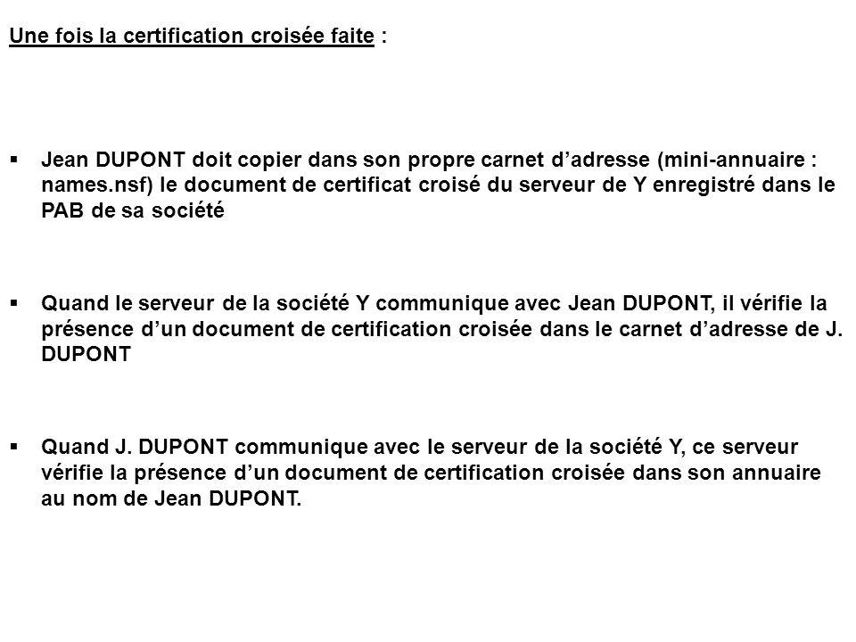 Une fois la certification croisée faite :