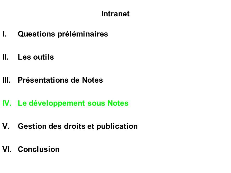 Intranet Questions préléminaires. Les outils. Présentations de Notes. Le développement sous Notes.