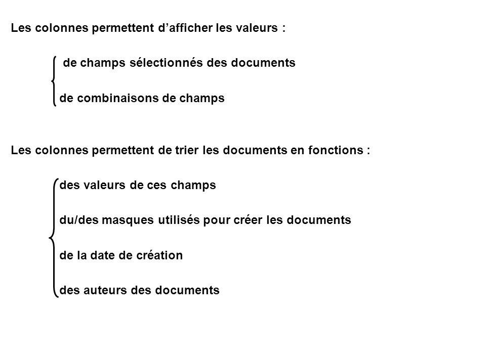 Les colonnes permettent d'afficher les valeurs : de champs sélectionnés des documents de combinaisons de champs Les colonnes permettent de trier les documents en fonctions : des valeurs de ces champs du/des masques utilisés pour créer les documents de la date de création des auteurs des documents