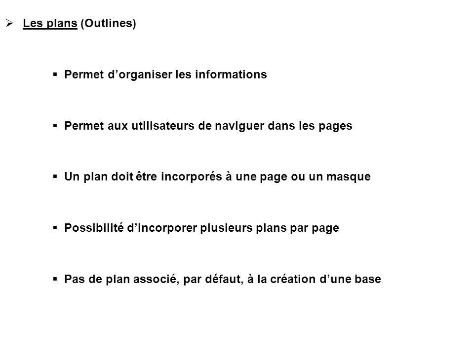 Les plans (Outlines) Permet d'organiser les informations. Permet aux utilisateurs de naviguer dans les pages.