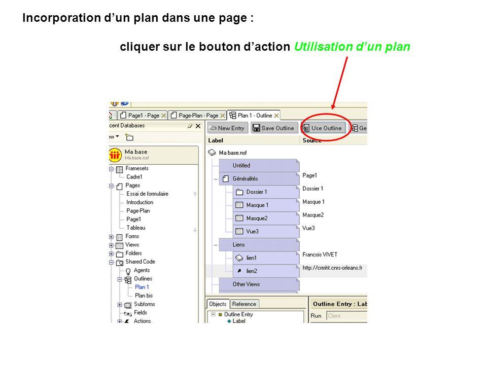 Incorporation d'un plan dans une page :