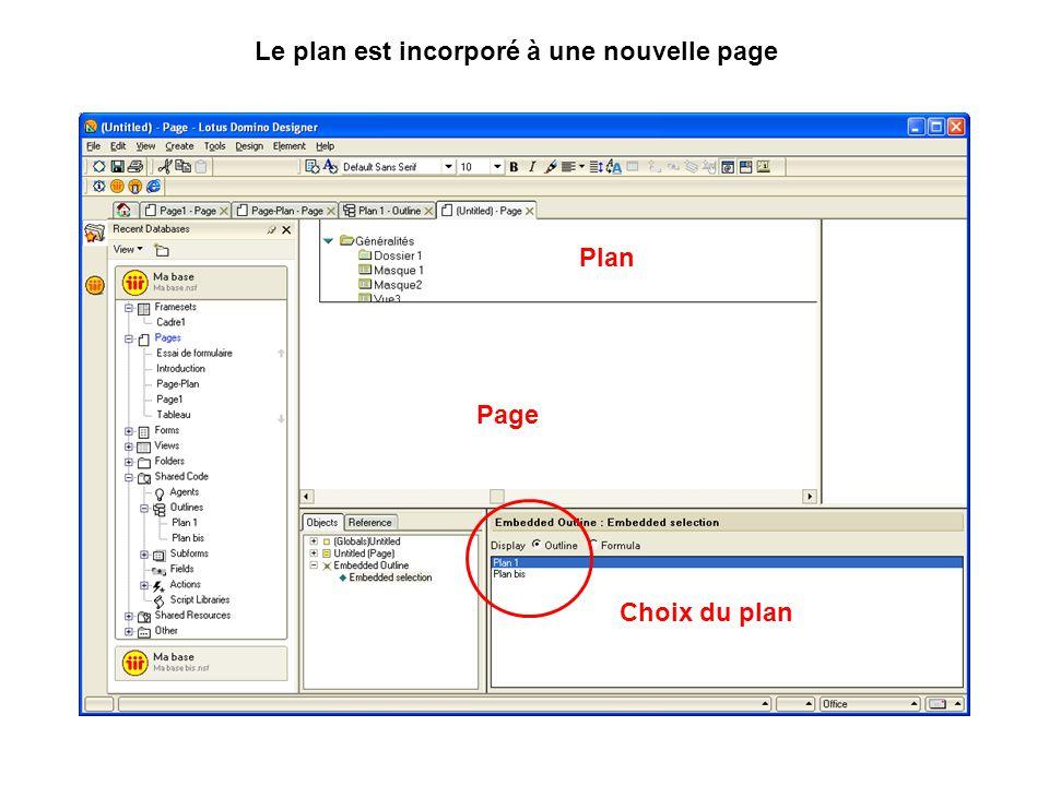 Le plan est incorporé à une nouvelle page