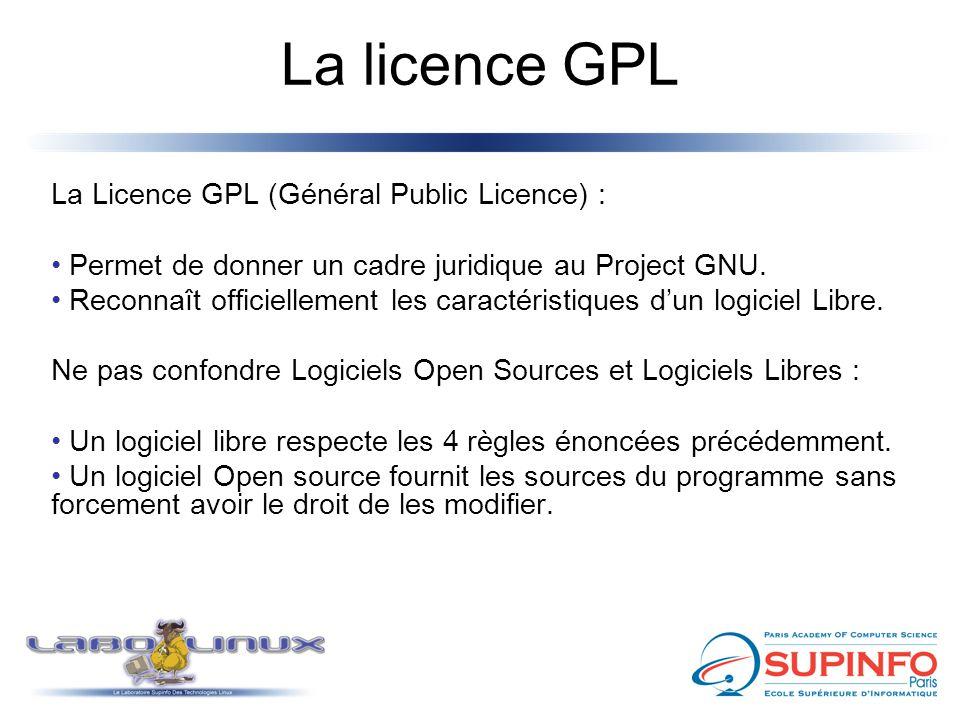 La licence GPL La Licence GPL (Général Public Licence) :