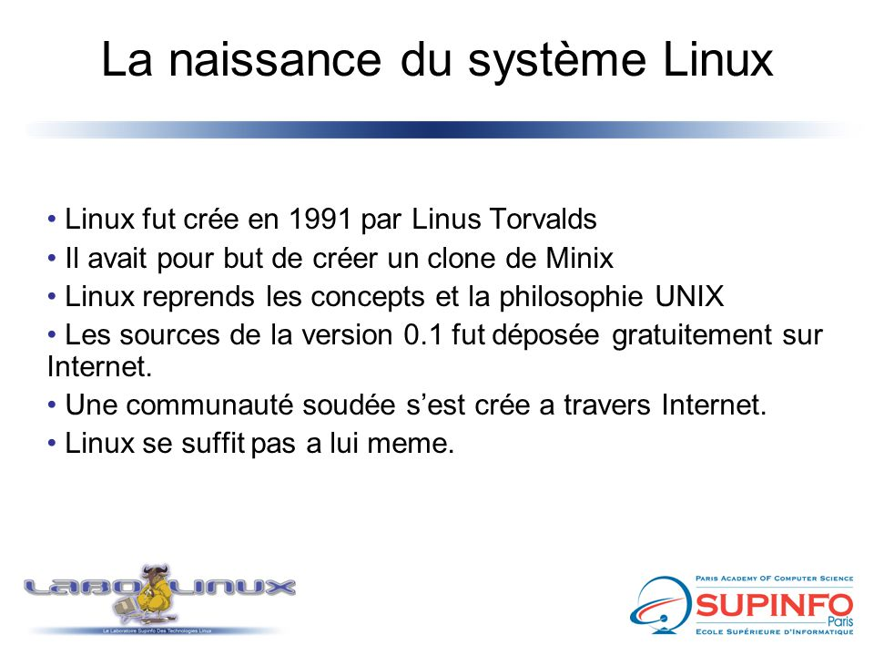 La naissance du système Linux