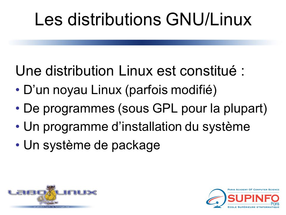 Les distributions GNU/Linux