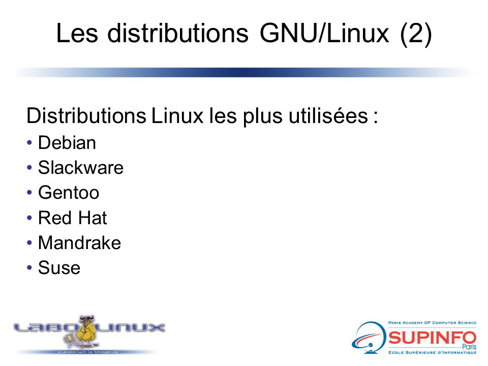 Les distributions GNU/Linux (2)