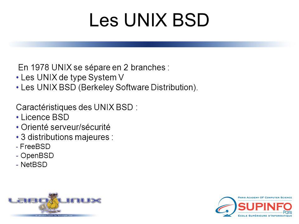 Les UNIX BSD En 1978 UNIX se sépare en 2 branches :