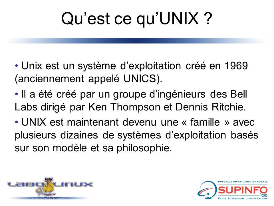 Qu'est ce qu'UNIX Unix est un système d'exploitation créé en 1969 (anciennement appelé UNICS).