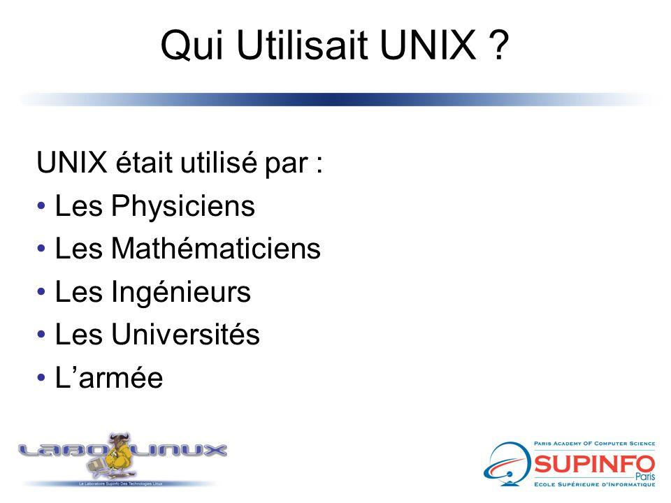 Qui Utilisait UNIX UNIX était utilisé par : Les Physiciens