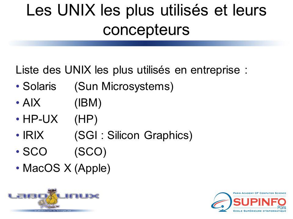 Les UNIX les plus utilisés et leurs concepteurs