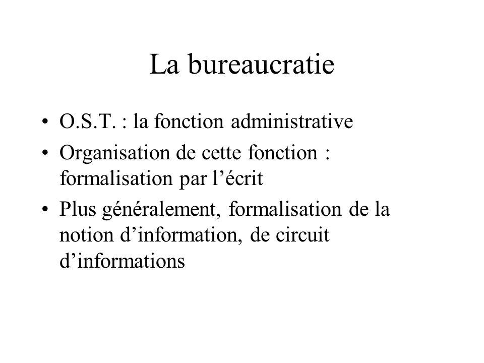 La bureaucratie O.S.T. : la fonction administrative
